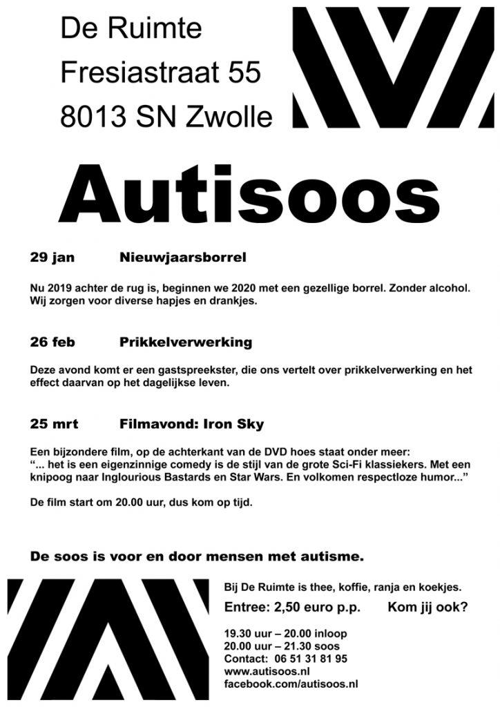 AutiSoos Poster Januari Februari en Maart 2020